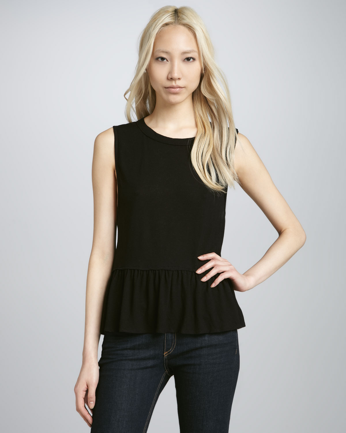 Chaser Sleeveless Peplum Top in Black