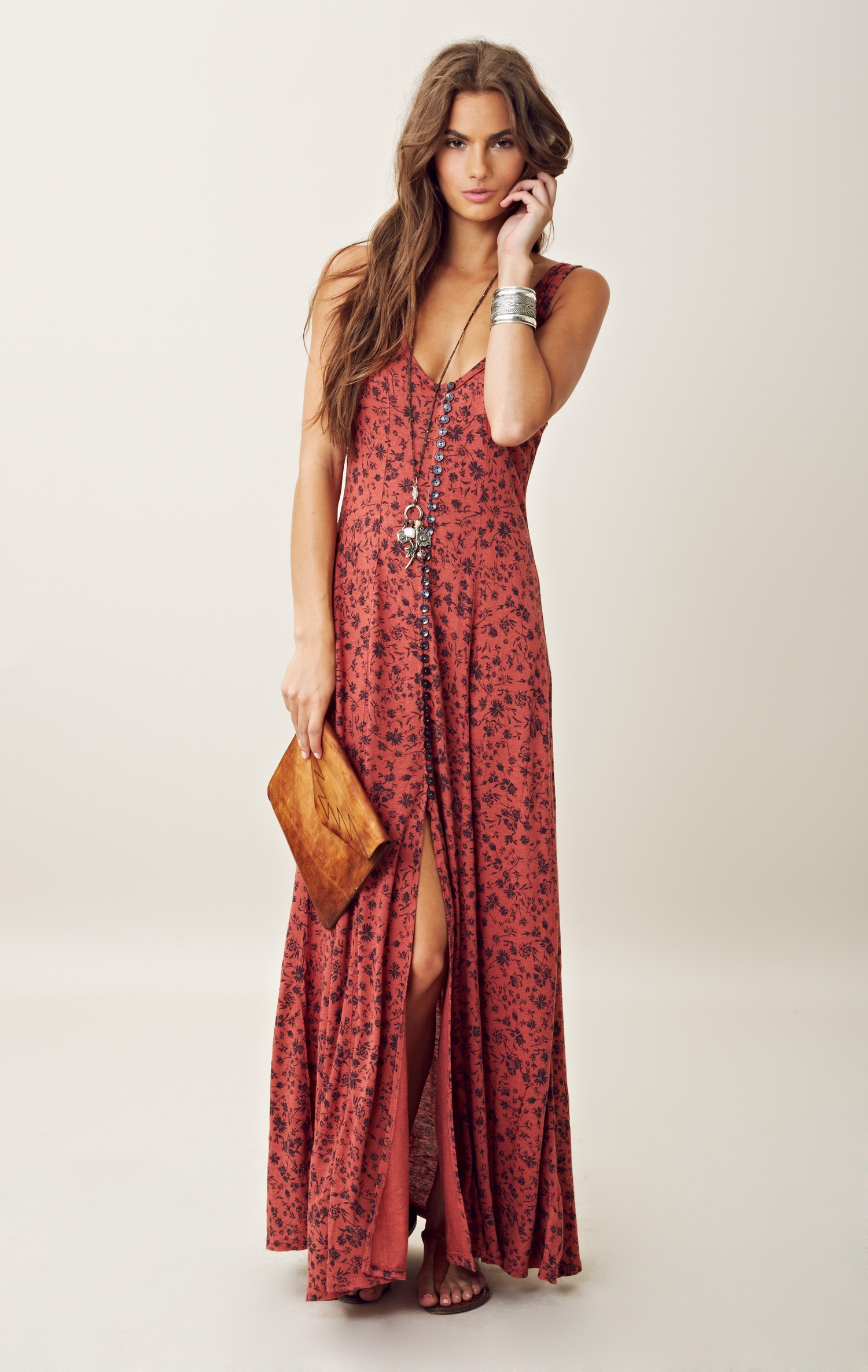 Free People Gold Coast Maxi Dress In Red Copper Lyst