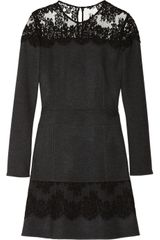 Roberto Cavalli Lace Trimmed Wool and Cashmere Blend Flannel Dress - Lyst