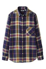 Uniqlo Gauze Check Long Sleeve Shirt - Lyst
