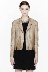 3.1 Phillip Lim Pale Beige Soft Leather Crossfront Biker Jacket - Lyst