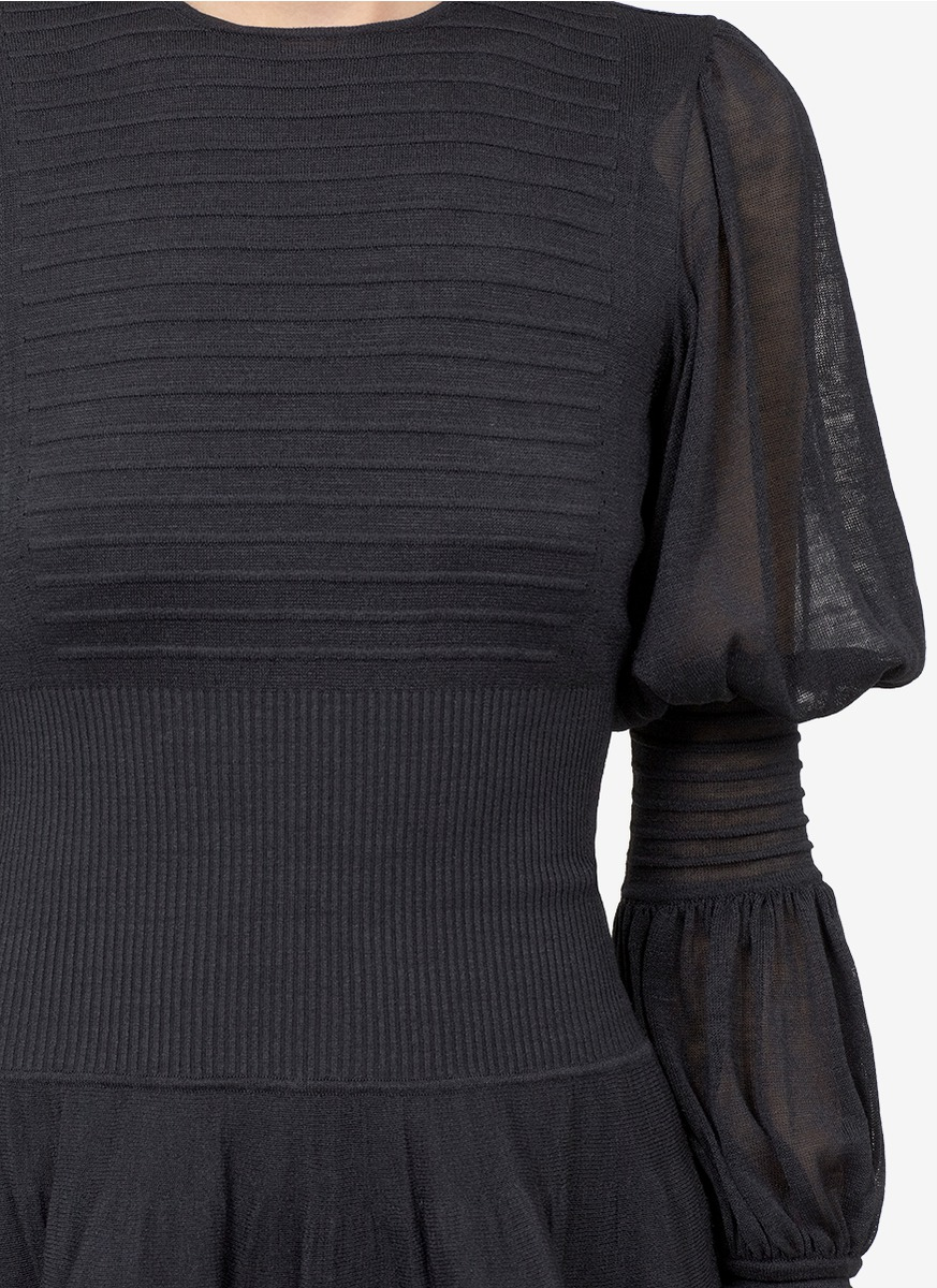 dcee4097555a98 Lyst - Alexander McQueen Puff-sleeve Silk Fine-knit Dress in Black