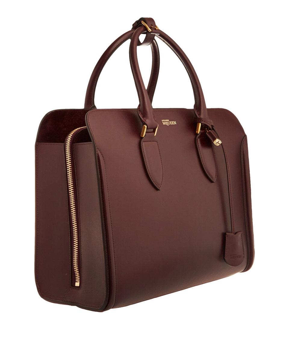 Alexander mcqueen Burgundy Heroine Open Leather Tote Bag ...