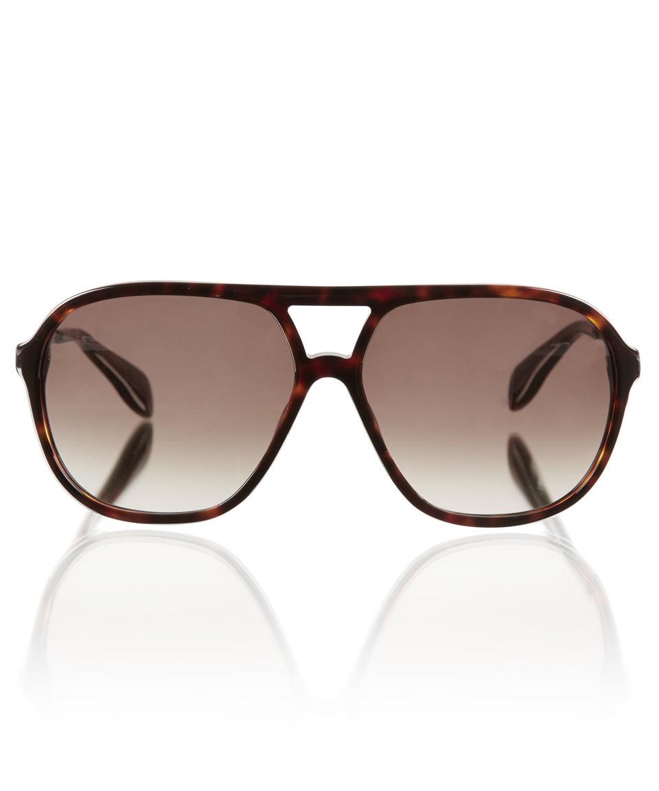 Alexander McQueen Tortoiseshell Rectangular Sunglasses 0259s3TbQ