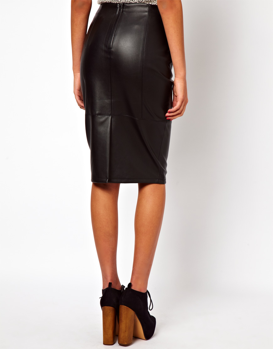 asos pencil skirt in leather look in black lyst