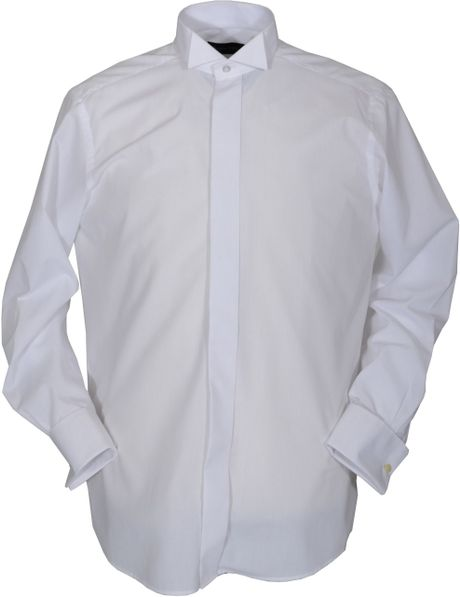 Double Two Plain Wing Collar Dress Shirt in White for Men