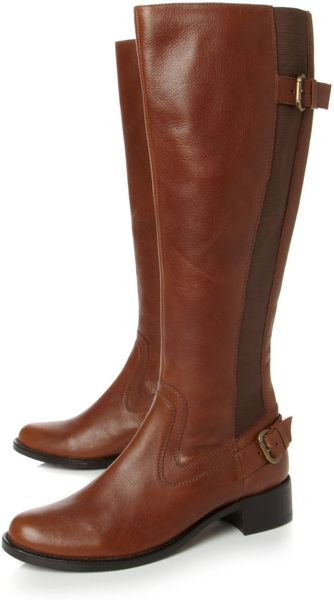 dune templeton back elastic boots in brown lyst