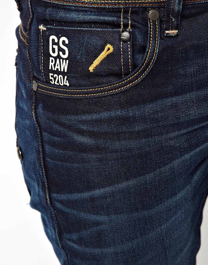 star raw g star jeans attacc low straight dark aged in blue for men. Black Bedroom Furniture Sets. Home Design Ideas
