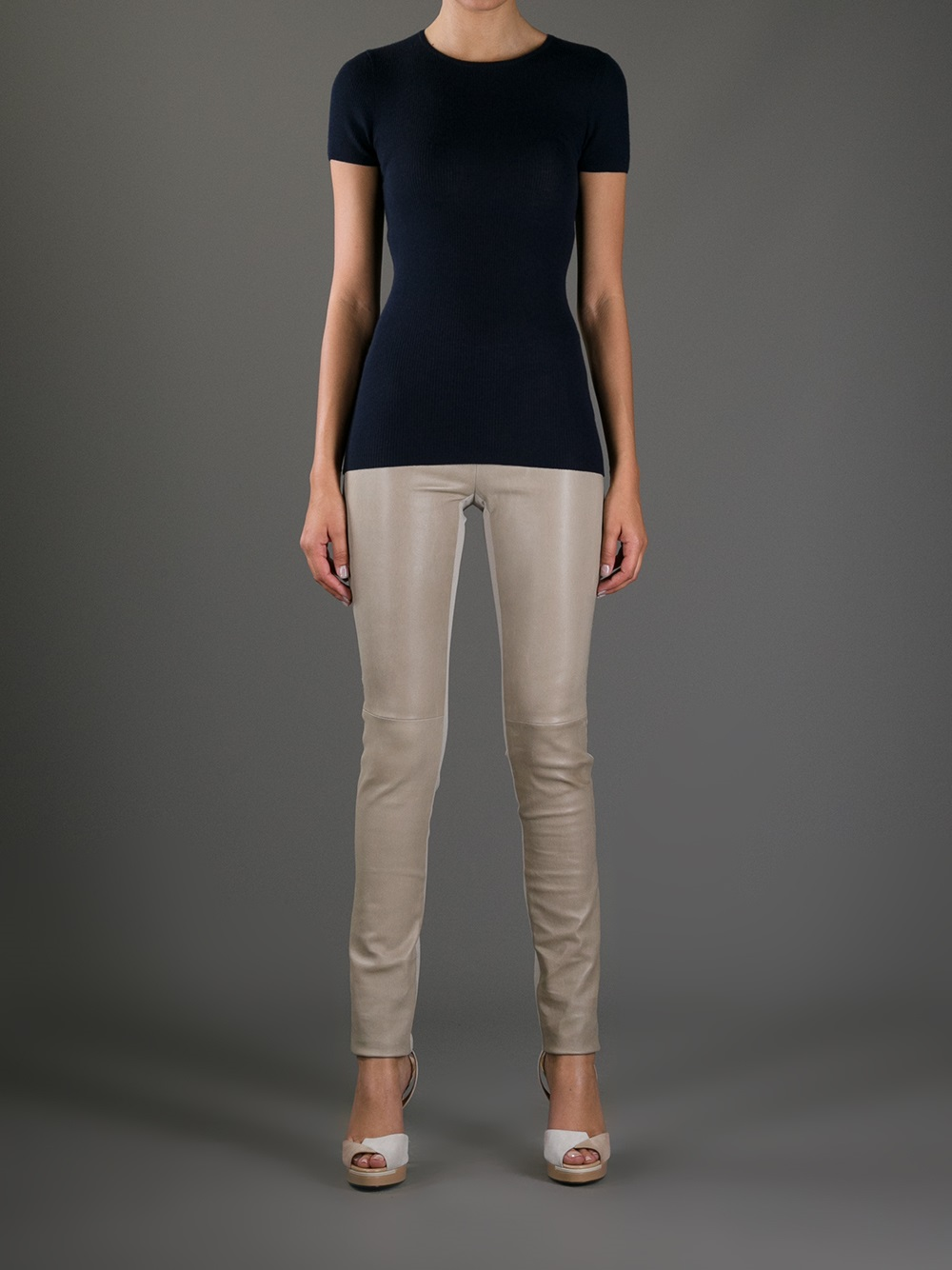 Joseph Stretch Leather Leggings in Natural | Lyst