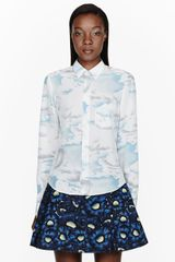 Kenzo Blue and White Silk Crepe Cloud Print Blouse - Lyst