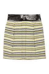 Milly Naomi Leathertrimmed Zigzag Woolblend Tweed Skirt - Lyst