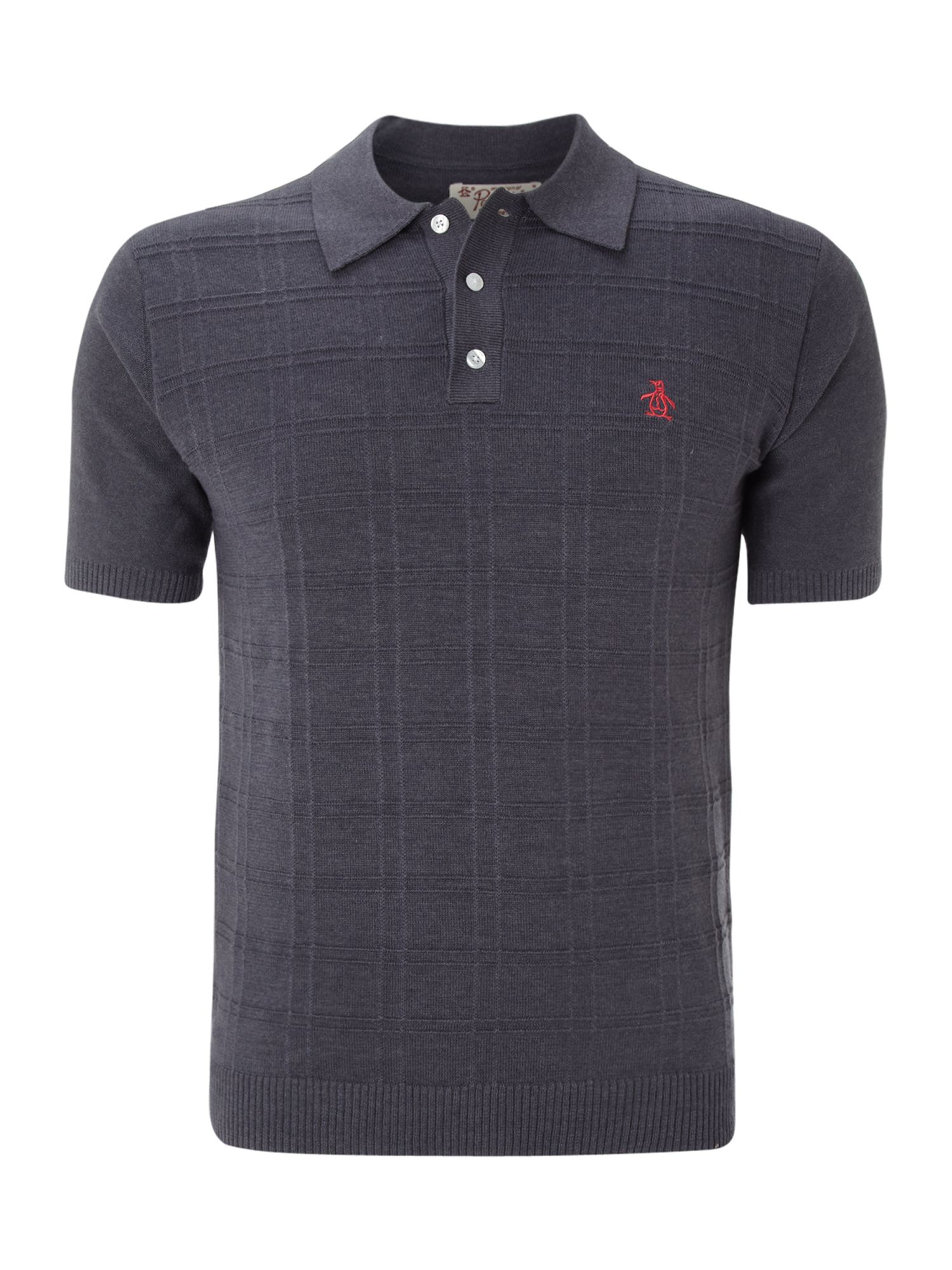 Original penguin regular fit plaid button placket polo for Polo shirts without buttons