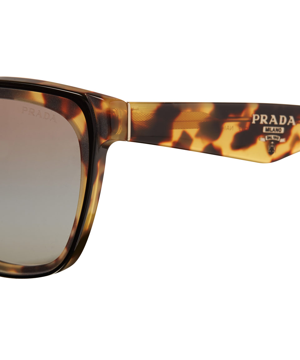 3fd3ce3ad427c Prada Tortoiseshell Square Cat Eye Sunglasses in Metallic - Lyst
