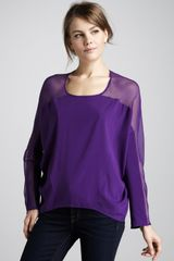 Ramy Brook Gabby Sheer-top Blouse - Lyst