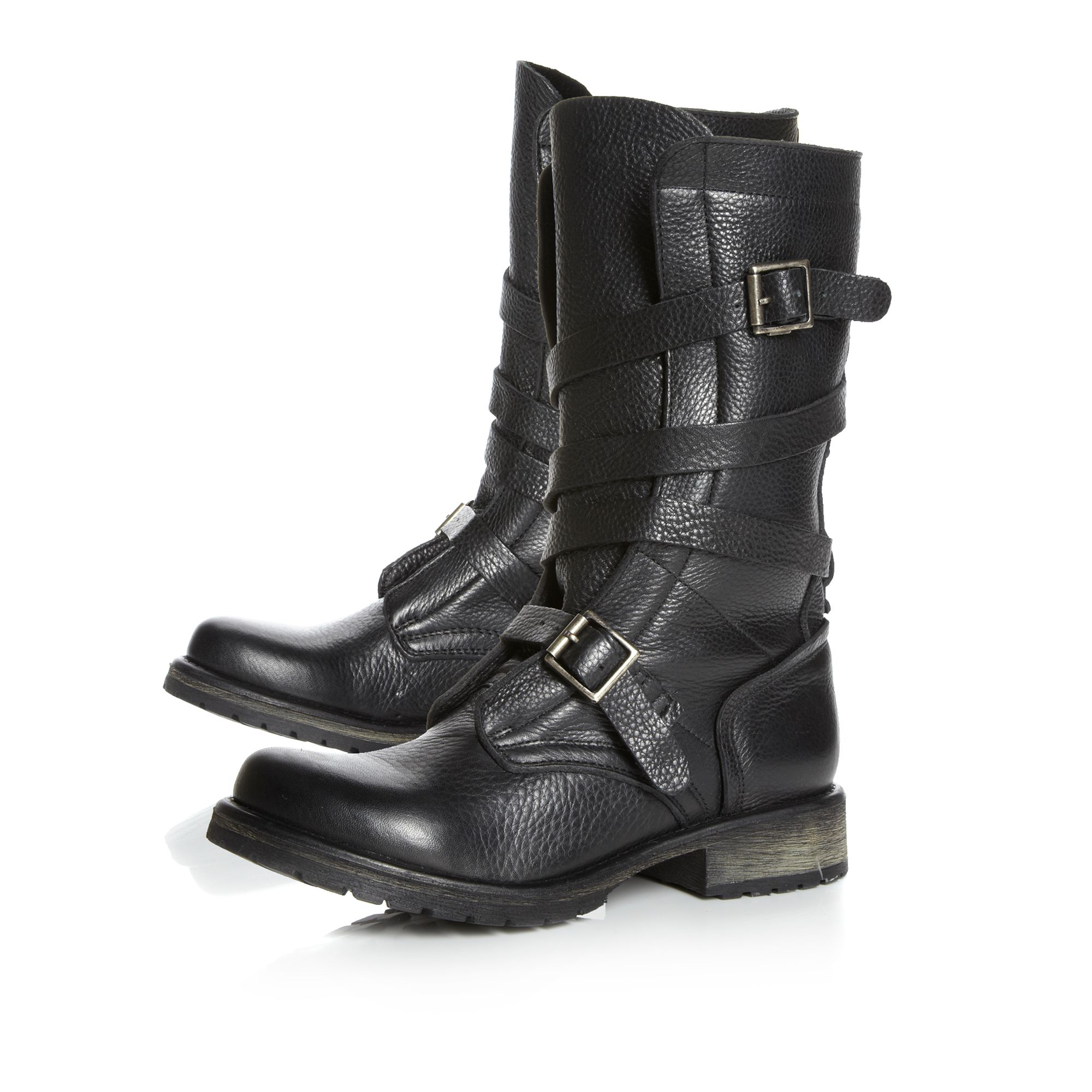 Steve madden Banddit Sm Strappy Biker Boot in Black | Lyst