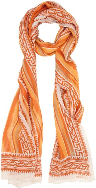 Versace Orange Aztec Stripe Print Silk Scarf - Lyst
