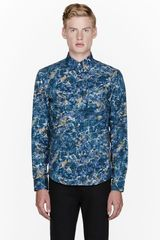 Acne Blue Marbled Isherwood Print Button Down - Lyst