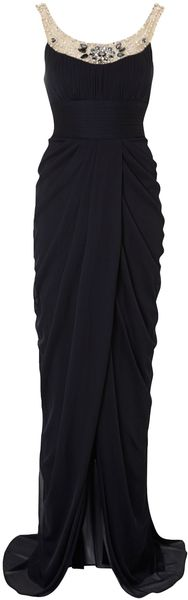 Adrianna Papell Embelished Neckline Dress - Lyst