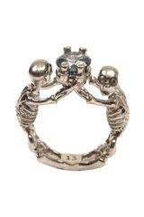 Alexander McQueen Twin Skeleton Jewel Ring - Lyst