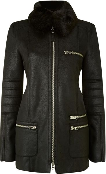 Armani Jeans Shearling Coat With Faux Fur Collar In Black