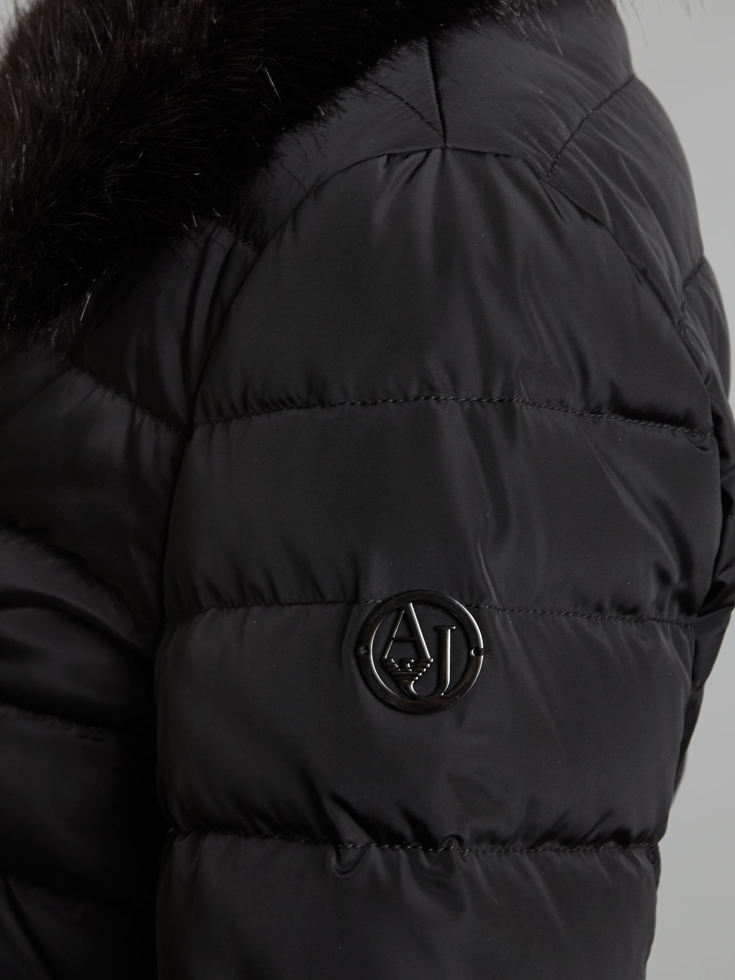 Armani jeans Short Padded Jacket with Faux Fur Collar in Black | Lyst
