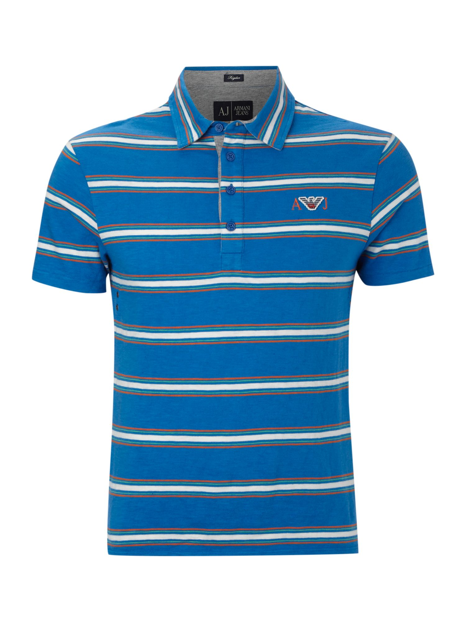 Armani jeans striped polo shirt with contrast collar in for Blue striped shirt mens