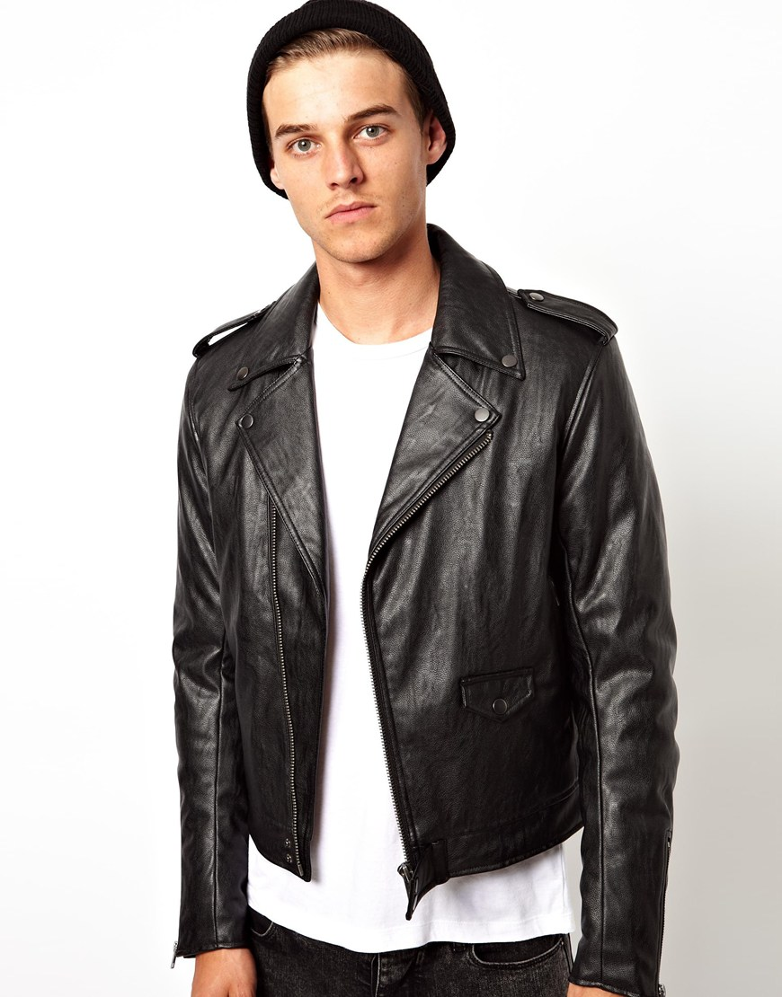 Asos Faux Leather Biker Jacket in Black for Men | Lyst