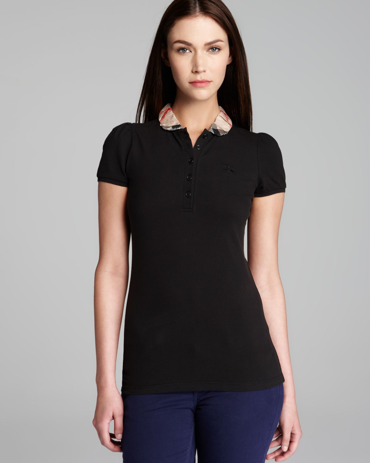 Lyst burberry polo shirt with check collar in black for Burberry shirt size chart