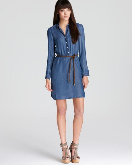 Burberry Brit Chambray Belted Shirt Dress In Blue Denim