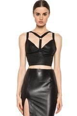 Cushnie Et Ochs Leather Crop Top in Black - Lyst