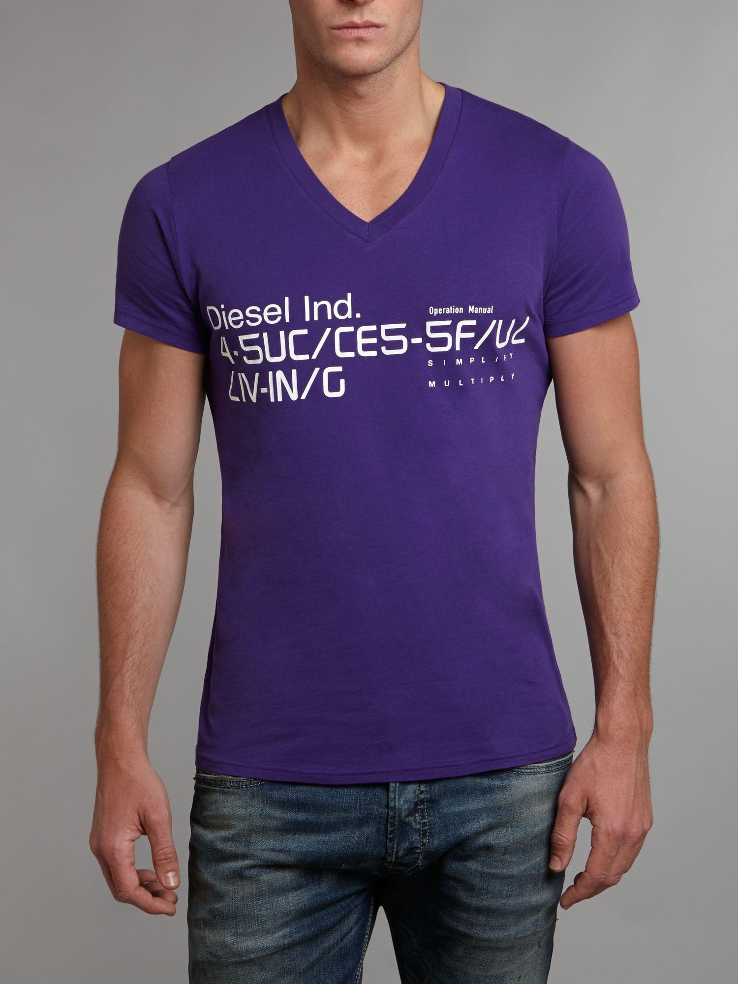 Diesel V Neck Successful Living Tshirt in Purple for Men ...