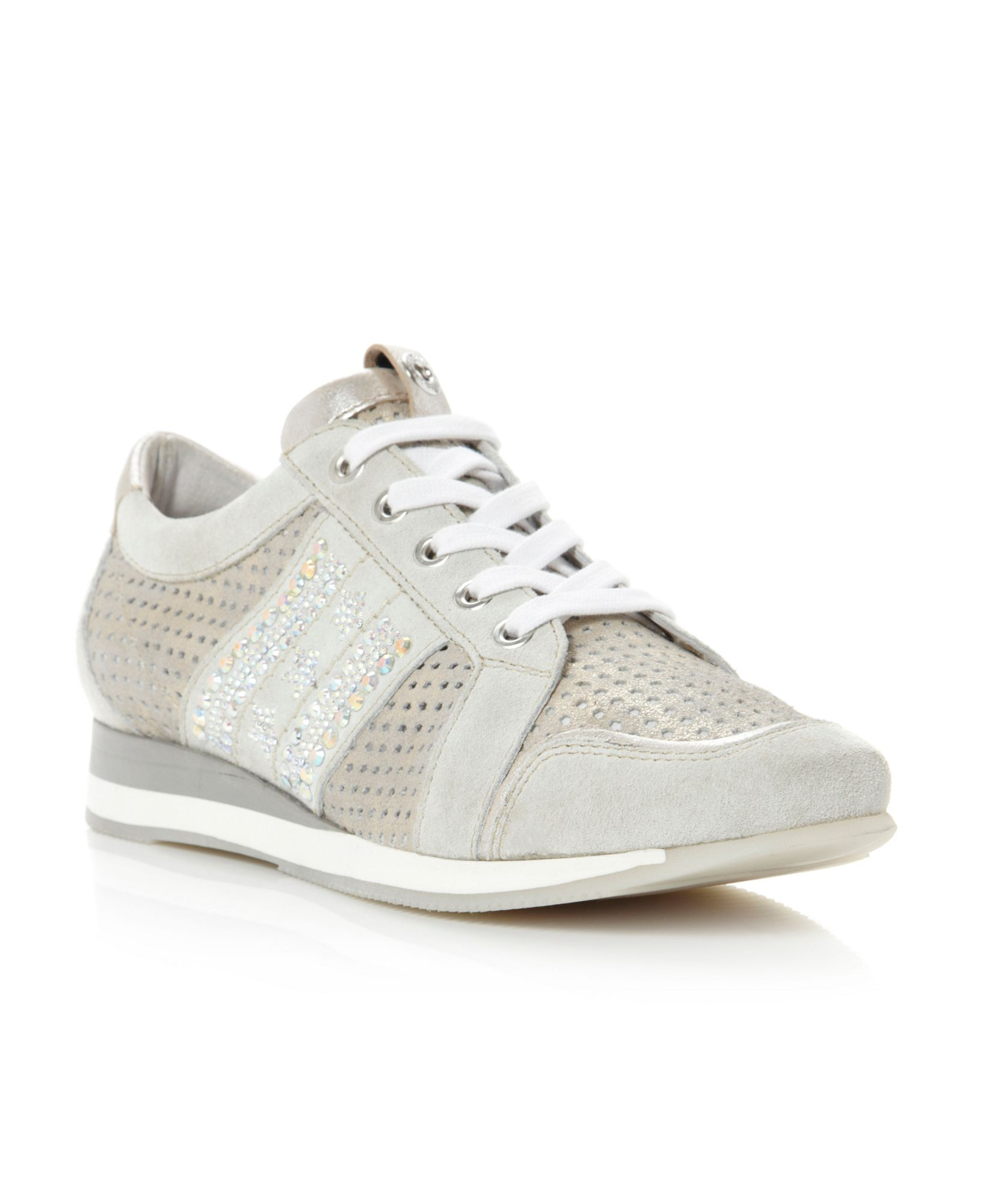 dune luxury metallic leather trainer shoes in gray silver