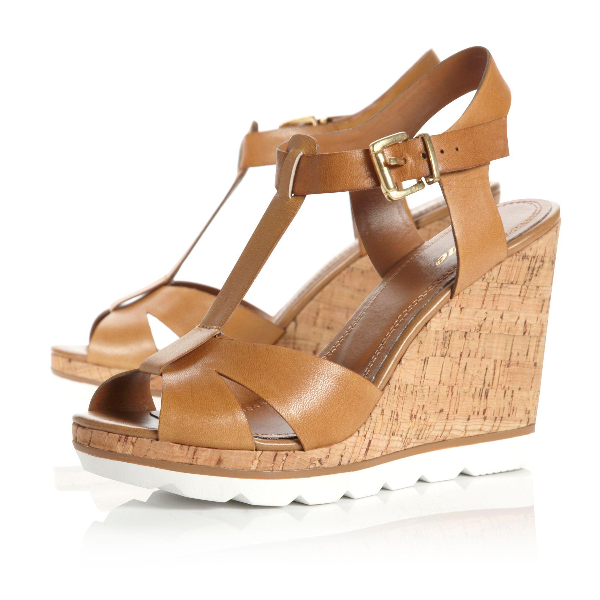 dune giraffe tbar wedge shoes in brown lyst