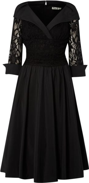 Eliza J Lace Detail 34 Sleeve Ruched Waist Dress In Black