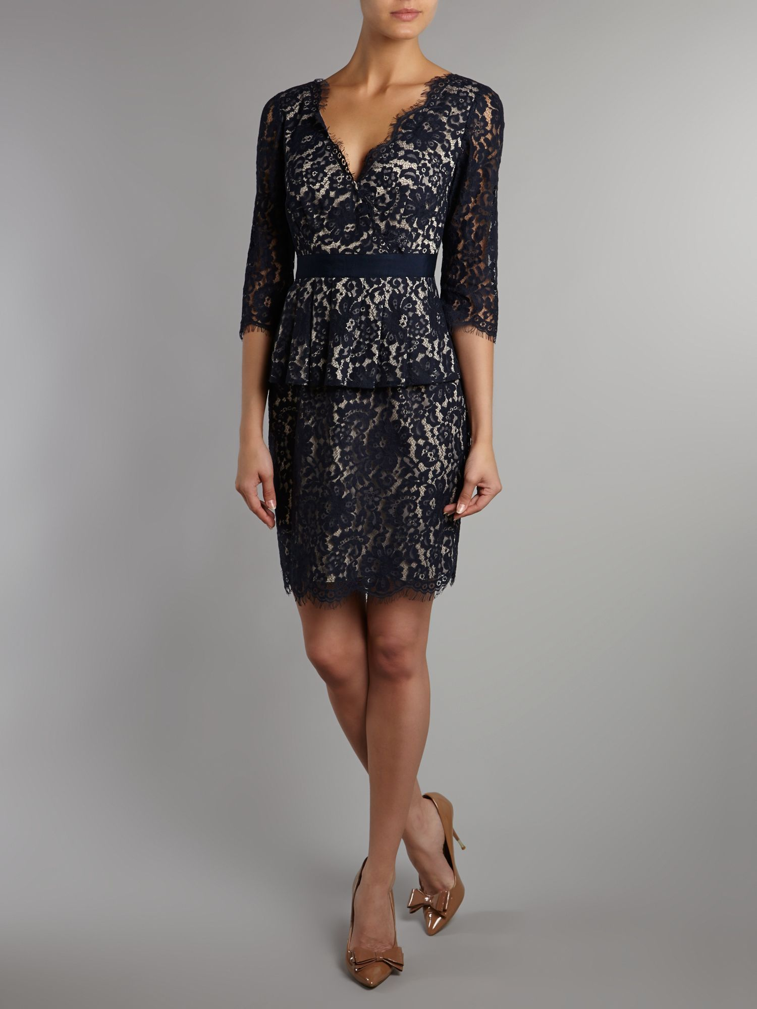 Eliza J Lace Fit Amp Flare Dress In Black Lyst