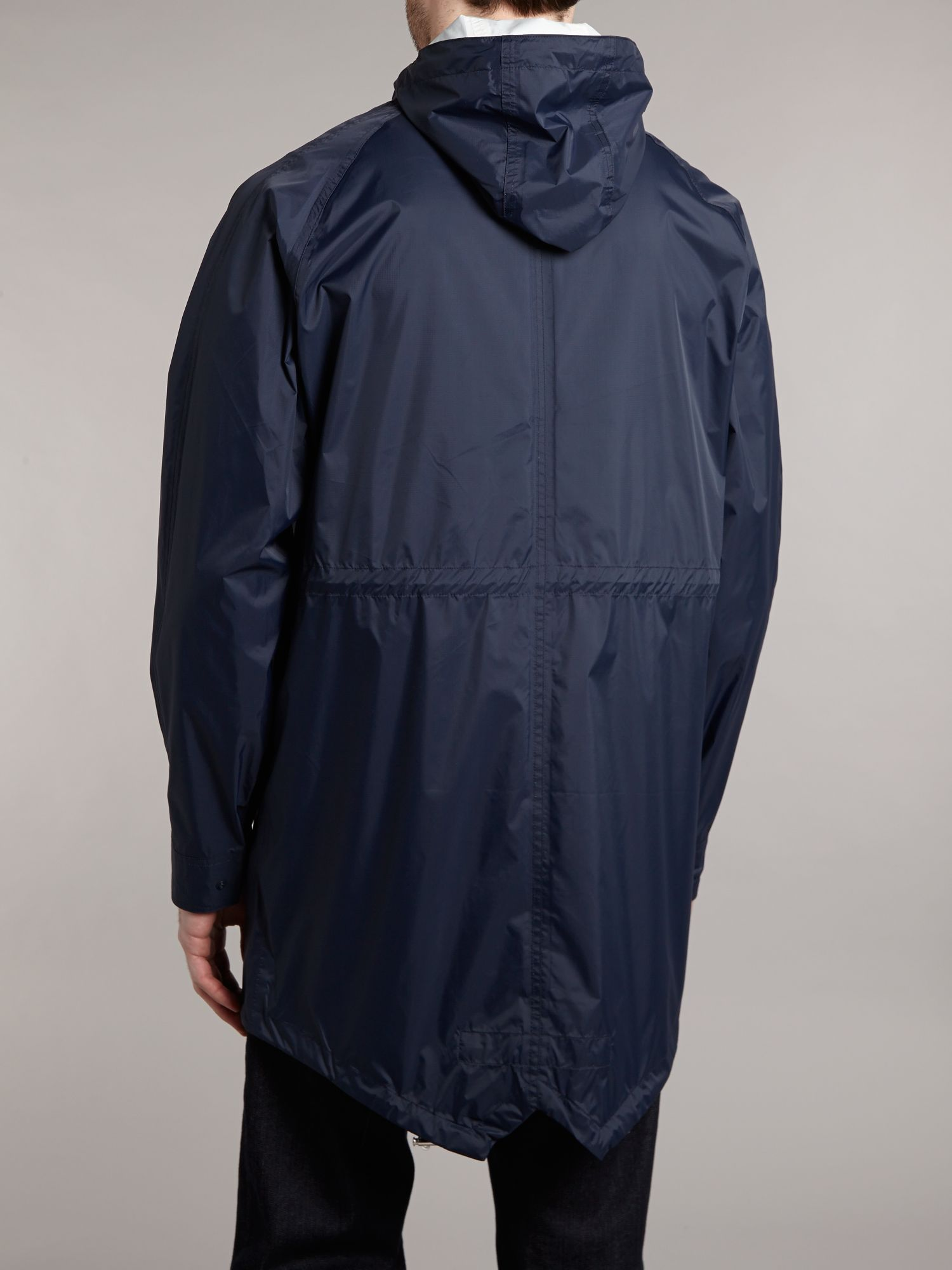 fred perry light weight hooded parka jacket in blue for men lyst. Black Bedroom Furniture Sets. Home Design Ideas