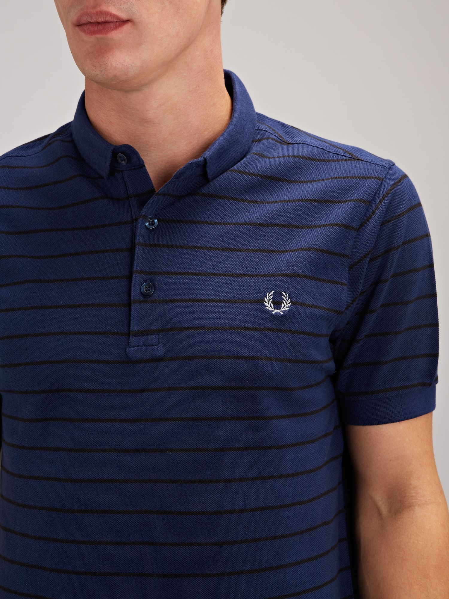 fred perry slim fitted fine striped polo shirt in blue for. Black Bedroom Furniture Sets. Home Design Ideas