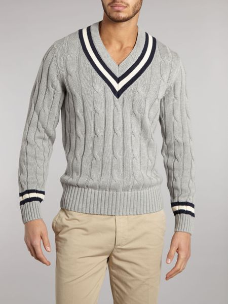 Hackett Cable Knit Cricket Jumper in Gray for Men (Grey) Lyst