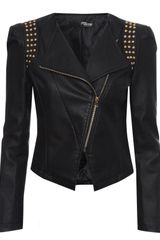 Jane Norman Pu Studded Sharp Shoulder Jacket - Lyst
