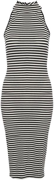 Jane Norman High Neck Stripe Midi Dress - Lyst