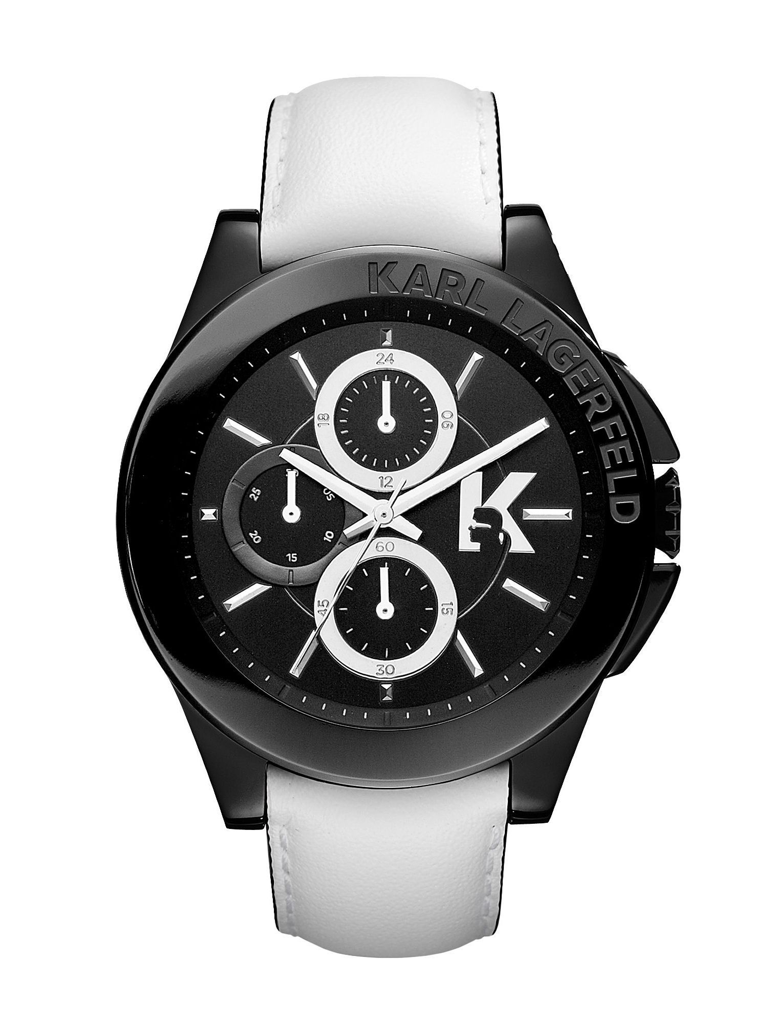 karl lagerfeld sport white leather mens watch in white for men lyst gallery