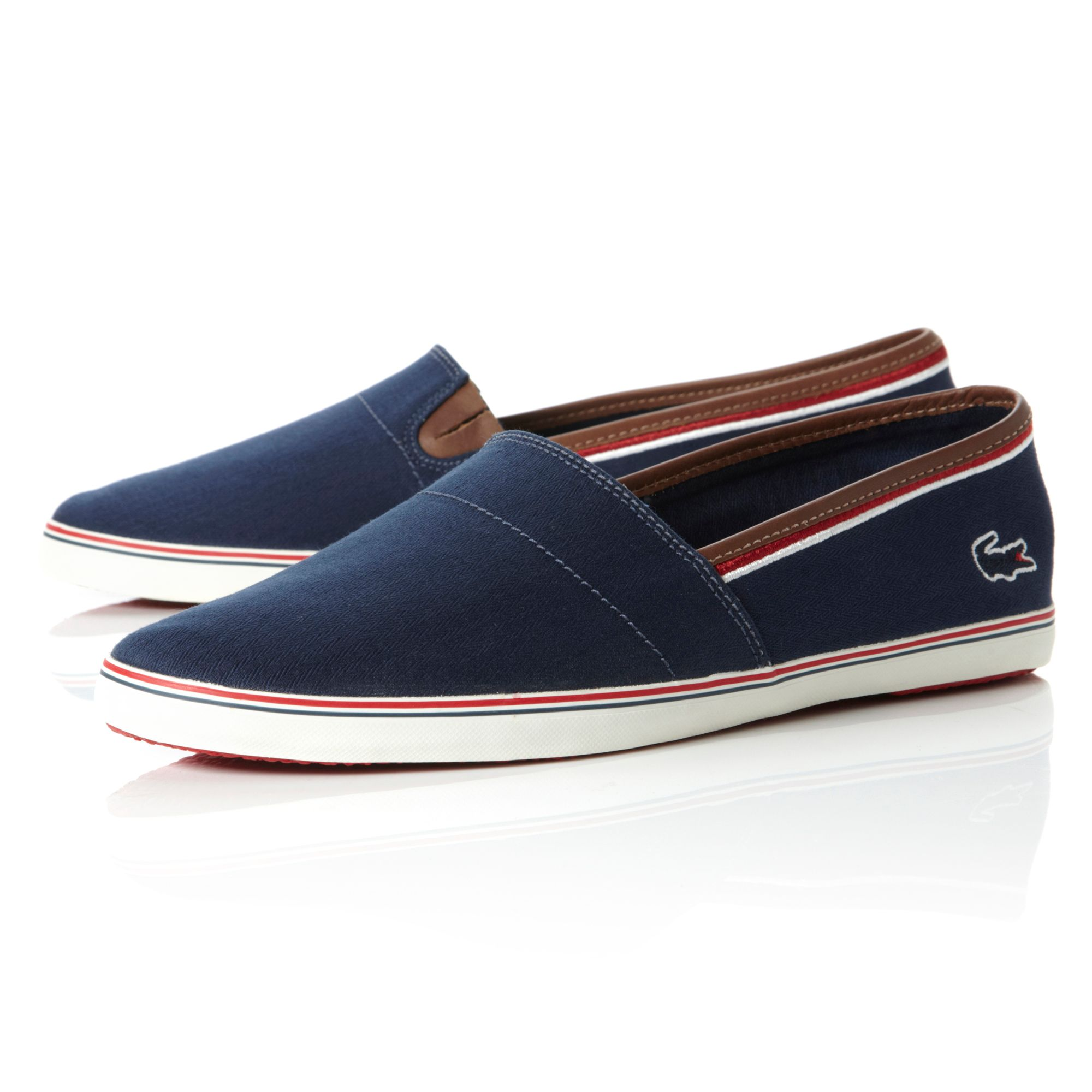 lacoste aimard slip on casual shoes in blue for lyst