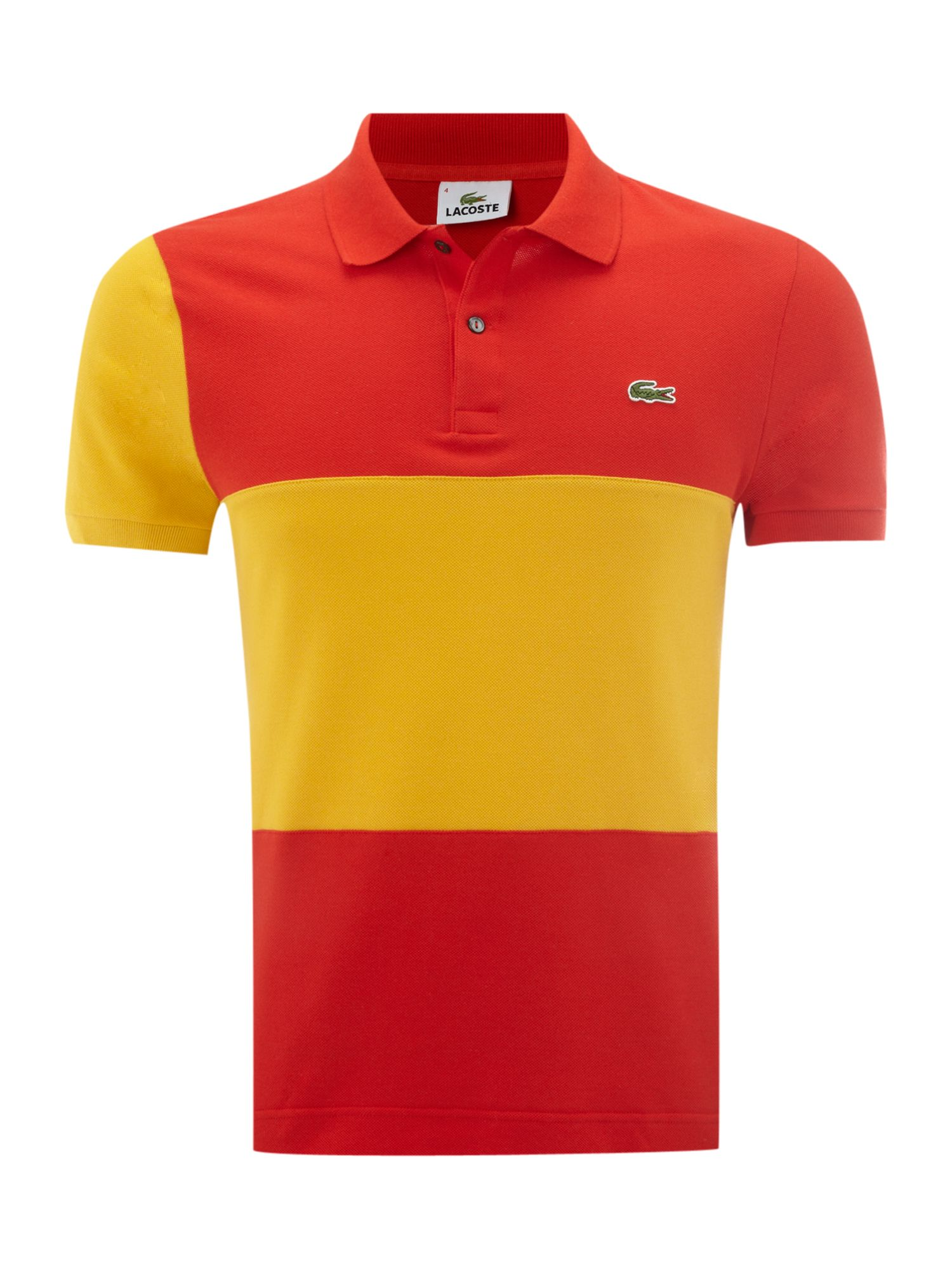 lacoste slim fit spain flag polo shirt in red for men lyst. Black Bedroom Furniture Sets. Home Design Ideas