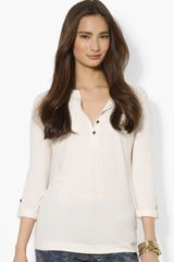 Lauren by Ralph Lauren Roll Sleeve Henley Top - Lyst