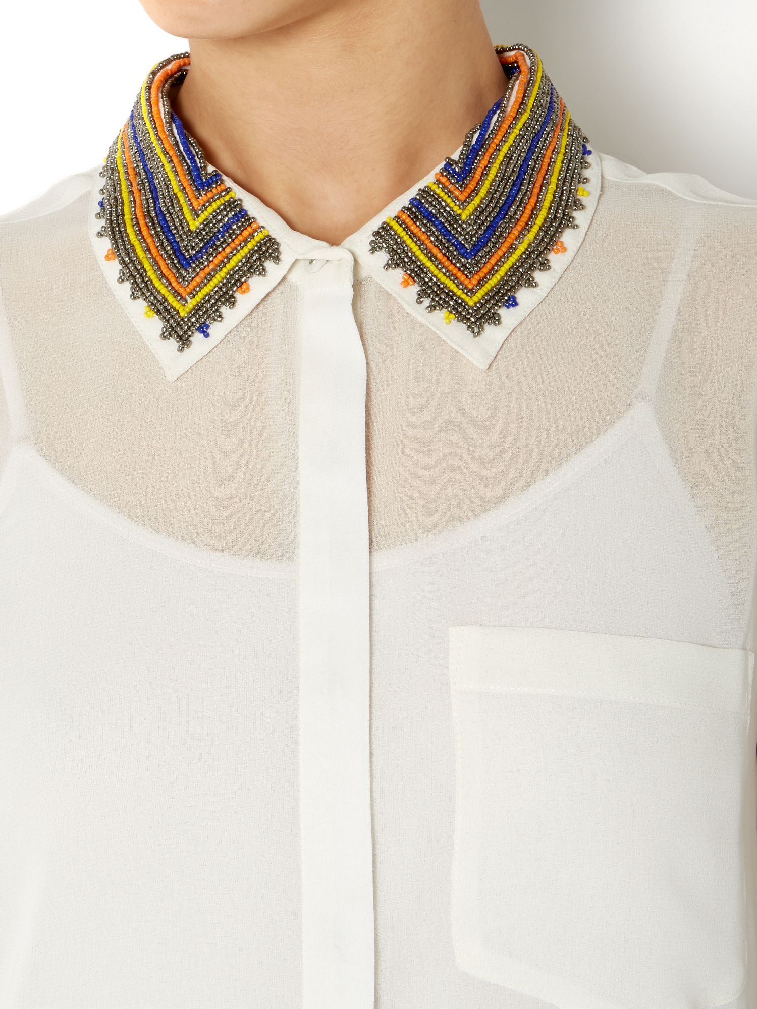 Lyst linea weekend ladies beaded collar sleeveless shirt for Sleeveless white shirt with collar