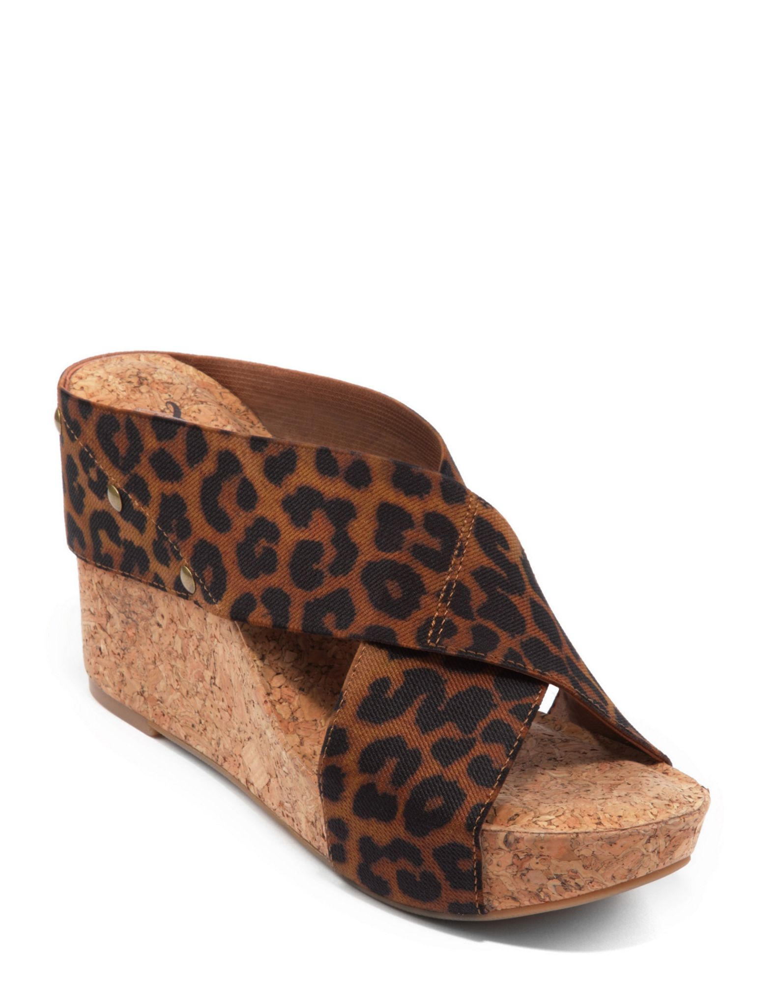 lucky brand miller wedge sandals in animal brown lyst