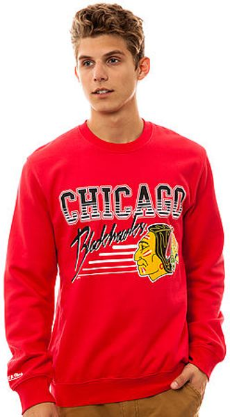 Mitchell & Ness The Chicago Blackhawks Crewneck Sweatshirt in Red for Men