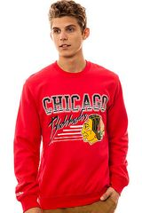 Mitchell & Ness The Chicago Blackhawks Crewneck Sweatshirt in Red for Men - Lyst
