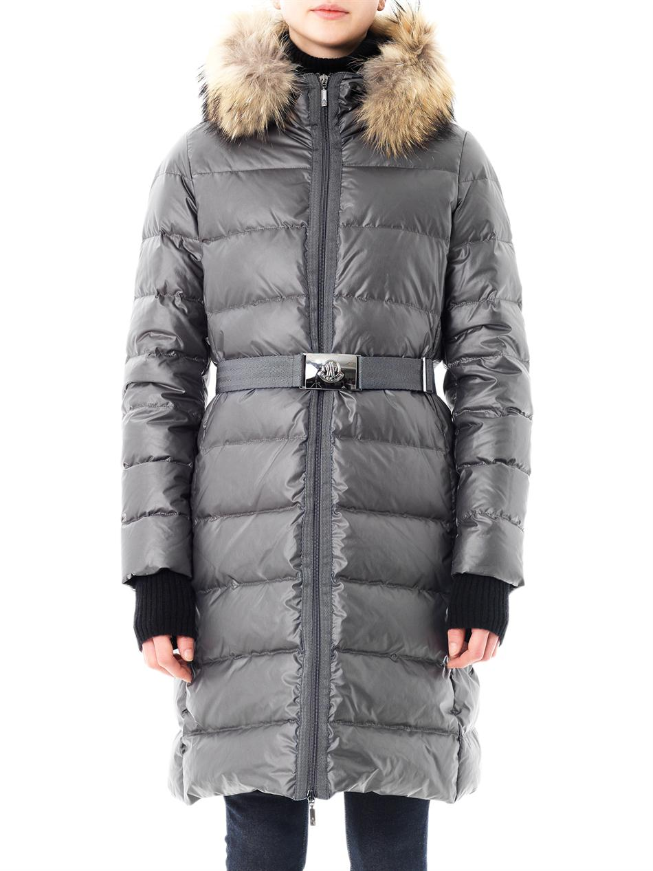 Moncler Tinuviel Shiny Quilted Puffer Coat W Fur Hood In