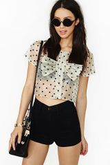 Nasty Gal Sweet Dot Crop Blouse - Lyst
